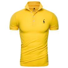 Polo de algodón para hombre, Polo informal liso con jirafa, Camiseta ajustada de manga corta bordada, 10 colores, envío directo, 2020