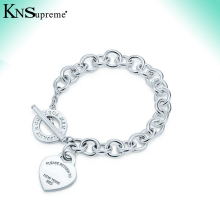 KN  tiff heart shape Bracelet Original 100% 925 Sterling Silver Women Free Shipping Jewelry High-end Quality Gift logo 1:1