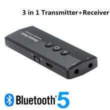 3 в 1 Bluetooth 5,0 передатчик приемник стерео аудио 3,5 мм Aux Jack беспроводной адаптер для ТВ автомобильный комплект с кнопкой управления