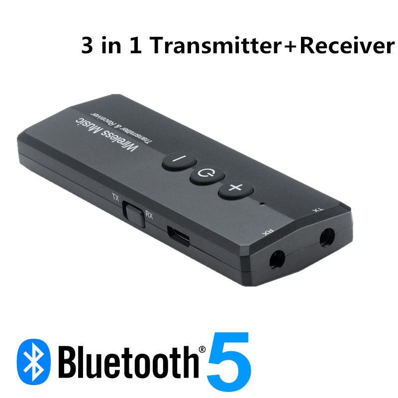 3 In 1 Bluetooth 5.0 Transmitter Receiver Stereo Audio 3.5mm Aux Jack Wireless Adapter For TV Car Kit With Control Button