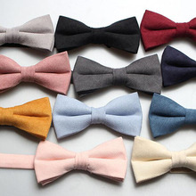 New Child Pure Color Bowtie Yellow Blue Colorful Cotton Bow Tie Classical School Kid Party Wedding Dress Texture Butterfly