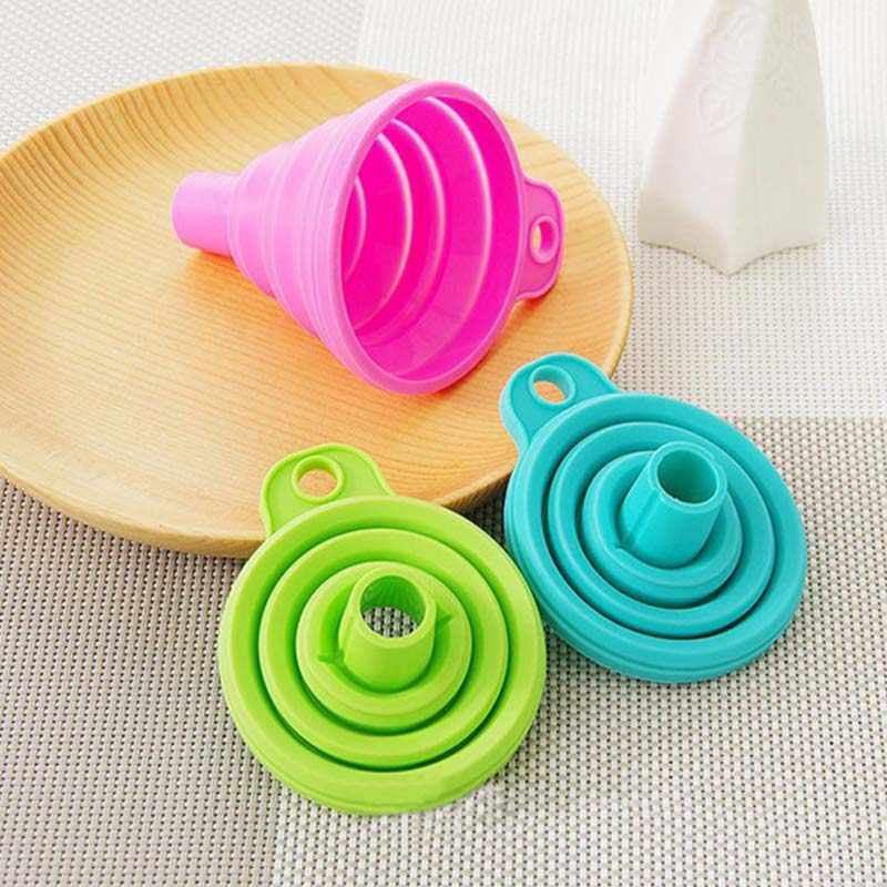 Foldable Funnel Soy Sauce Liquid Funnel Protable Silicone Collapsible Funnel Hopper For Kitchen Cooking Tools