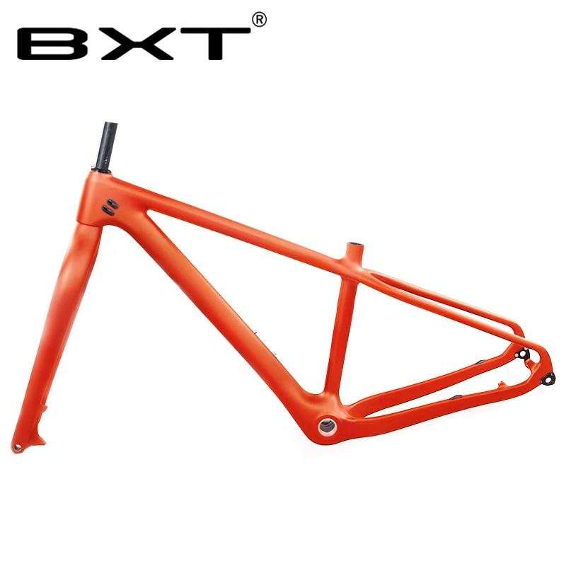 BXT 26er New Snow Fat Wheel Bike Bicycle Frame Fork 16 18inch Full Carbon MTB Snow  1-1/8
