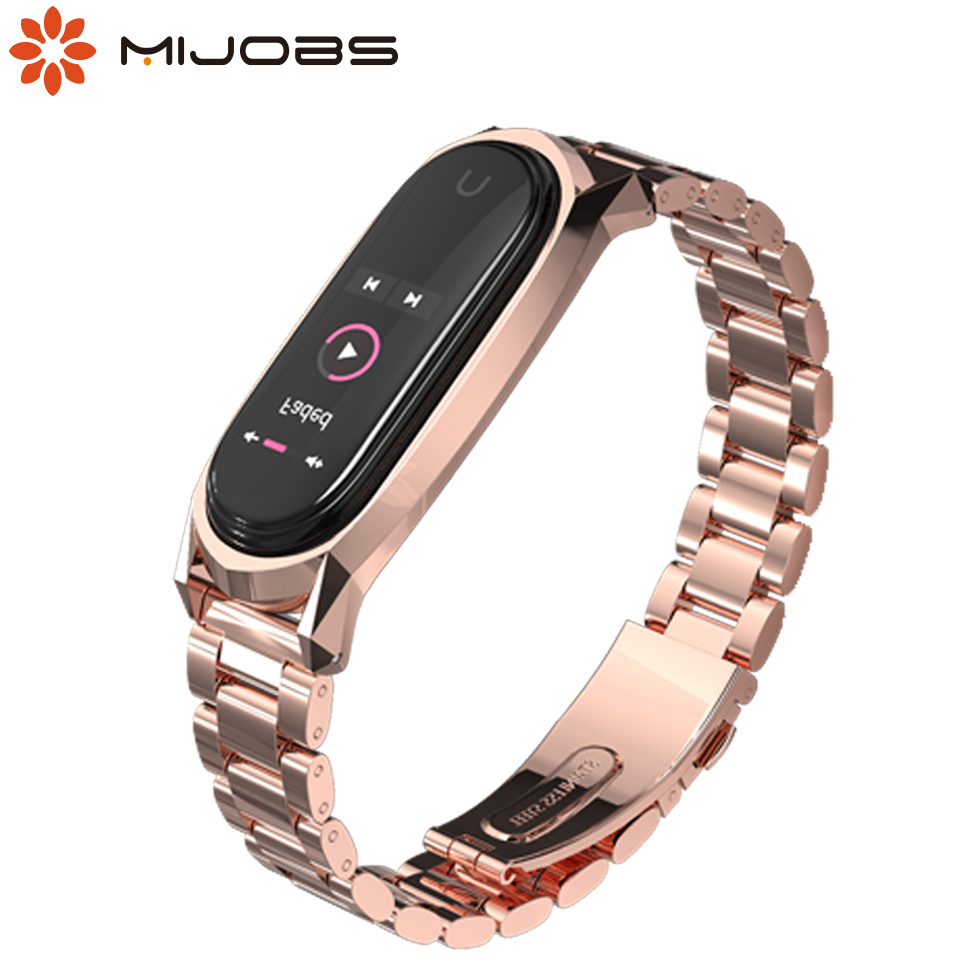 Mijobs Mi Band 4 Strap Metal Wrist Strap For Xiaomi Mi Band 4 Screwless Stainless Steel Wristband Mi Band 3 Smart Watch Bracelet