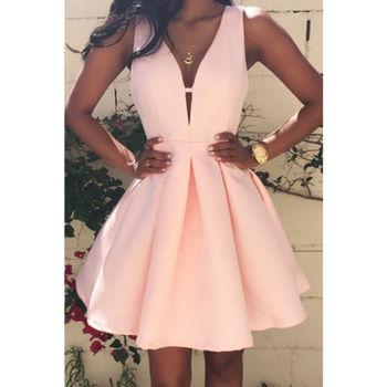2019 Fashion Summer Women Sleeveless Dress V-neck Casual Party Evening Mini Dresses pink 1