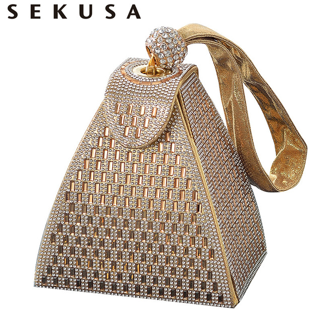 SEKUSA Women new arrival evening bags diamonds fashion handbags ladies party clutches with crystal gorgeous purse