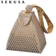 SEKUSA نساء جديد وصول مساء حقائب الماس موضة حقائب السيدات حقائب حفلات مع كريستال رائع محفظة
