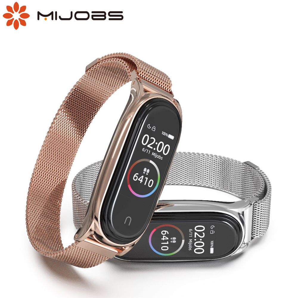 For Mi Band 5 Strap for Xiaomi Mi Band 4 Bracelet Metal Magnetic Wrist Strap for Mi Band 3 Smart Wristbands NFC Global Version image