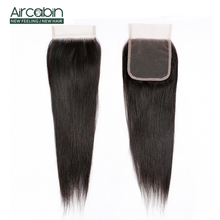 Aircabin Hair Brazilian Straight 4x4 Closure Remy Free/Middle/Three Part Human Lace 8-20 Natural Color