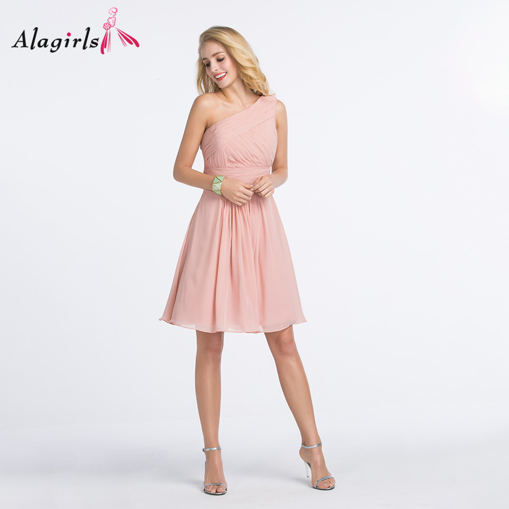 Alagirls One shoulder pink bridesmaid dress Women ruched short dress 2020 Simple knee length robes plus size