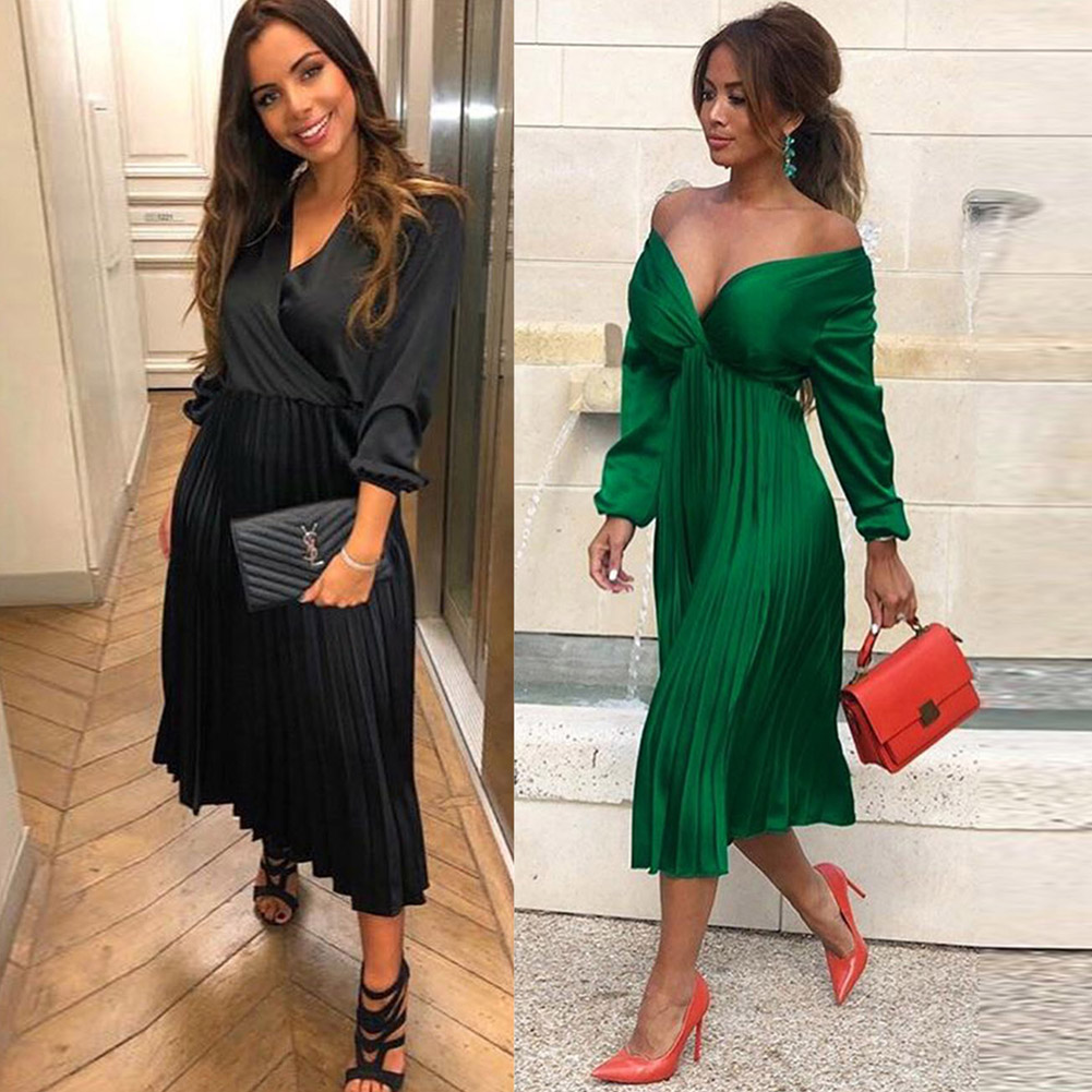2019 Autumn Office Lady Satin Dress Women Off Shoulder Long Sleeve V Neck Elegant Fit Flare Dress Women Mid-calf Party Dresses