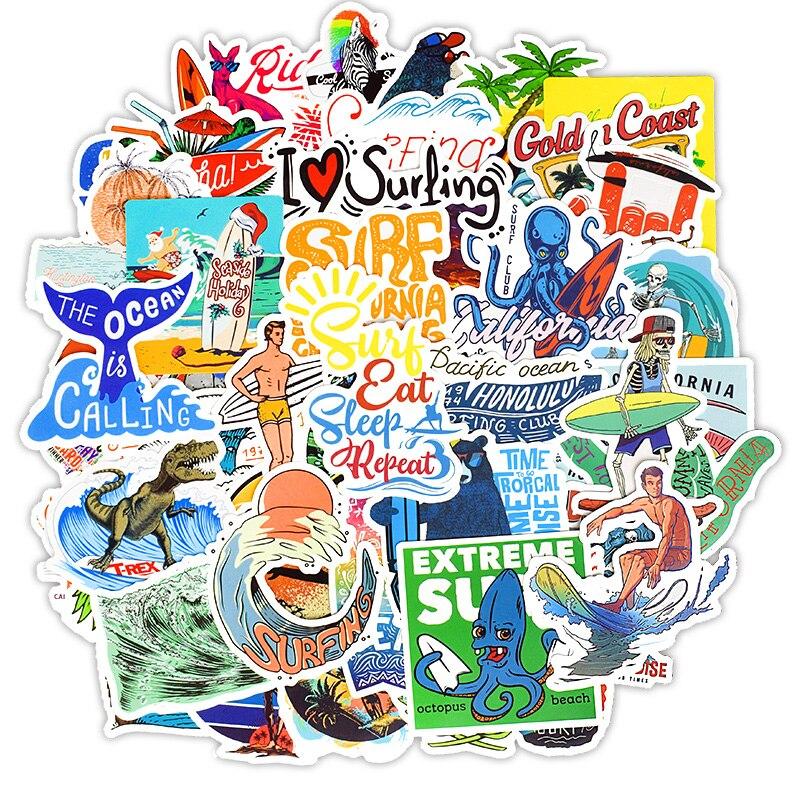 50PCS Outdoor Surfing Stickers Summer Sports Tropical Beach Surfing Waterproof Stickers To DIY Surfboard Skateboard Sticker F4