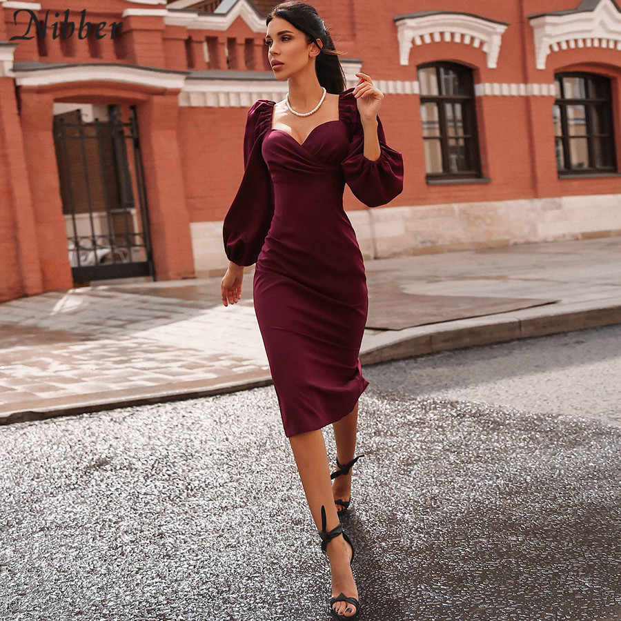 Nibber sexy pure V-hals off shoulder bodycon vrouwen jurk herfst winter club party night rode Elegante midi jurk Mujer zwarte jurk