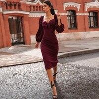 Nibber sexy pur col en V épaules dénudées robe moulante femmes automne hiver club fête nuit rouge élégant robe midi Mujer robe noire