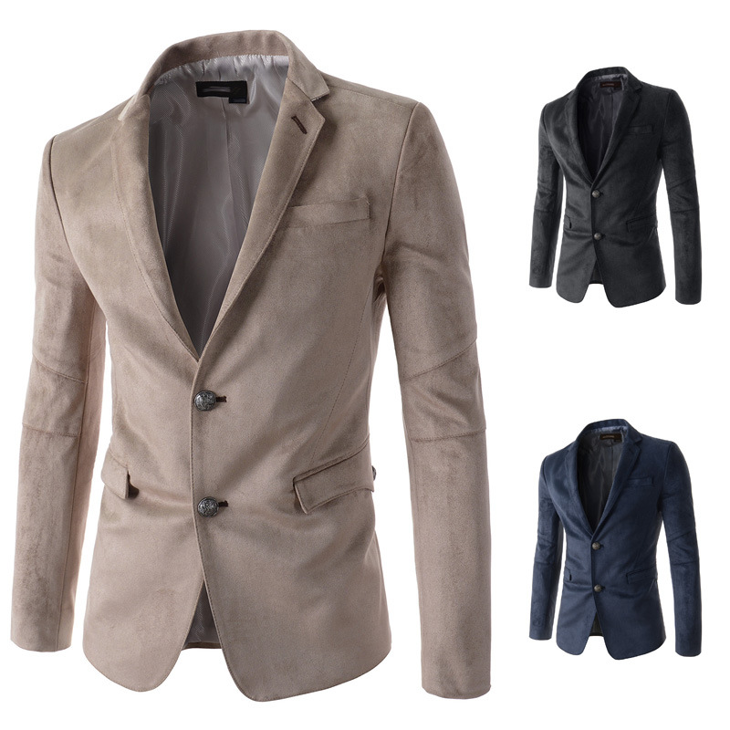 Special MEN'S Business Suit Two Grain Of Single Breasted Suede Leisure Suit Casual Men Suit Jacket