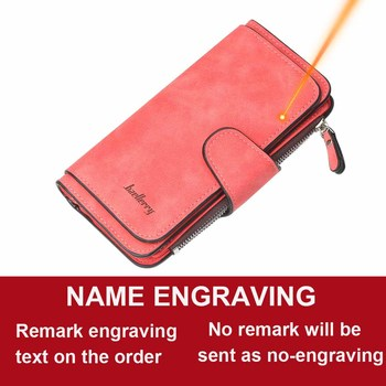 Women Wallets Name Engrave Fashion Long Leather Top Quality Card Holder Classic Female Purse  Zipper  Wallet For Women 12