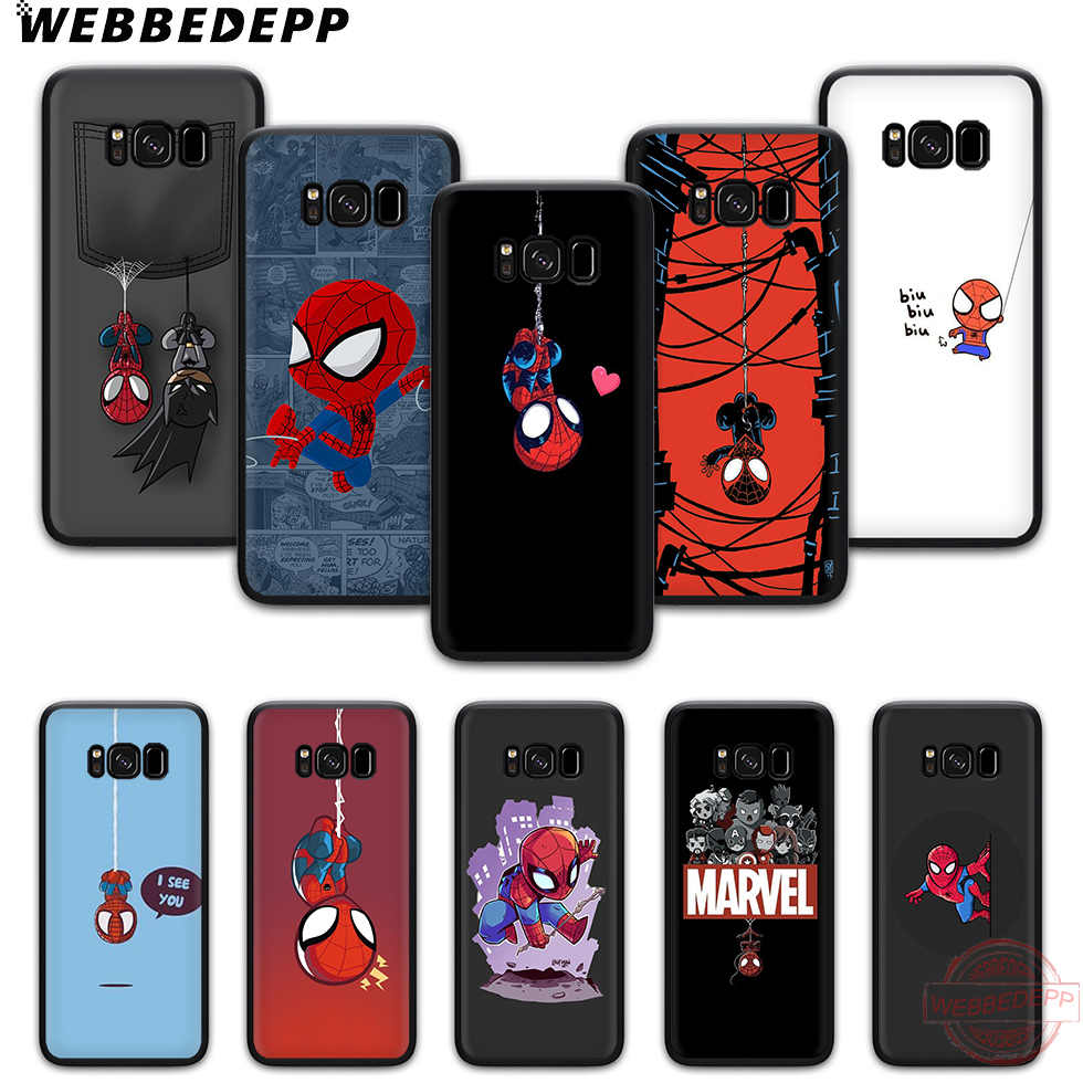 Webbedepp Kartun Spiderman Soft Phone Case untuk Samsung S6 S7 Edge S8 S9 S10 Plus J4 J6 J7 J8 Note8 9 10