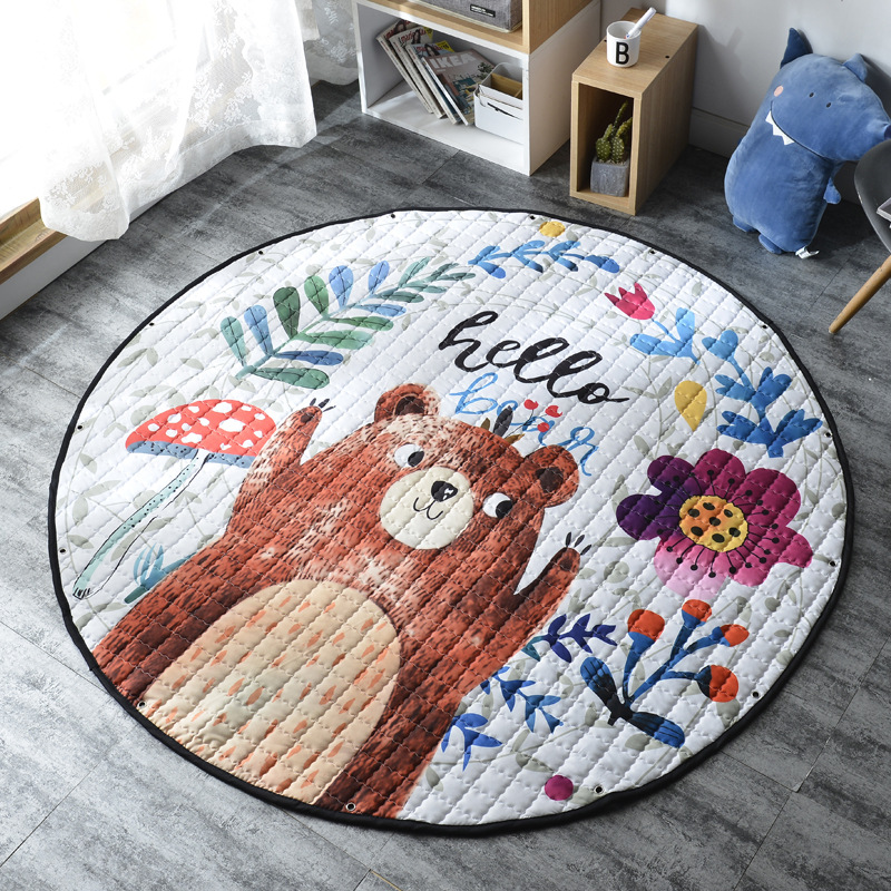 H6751d8dd4a154a828f1ede35026528aev Kid Soft Carpet Rugs Cartoon Animals Fox Baby Play Mats Child Crawling Blanket Carpet Toys Storage Bag Kids Room Decoration
