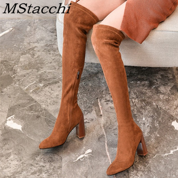 MStacchi Fashion Boots For Women Suede Round Toe Boots Chunky Heels Thigh Boots Women Boots With Zippers  Spring  Autumn Boots