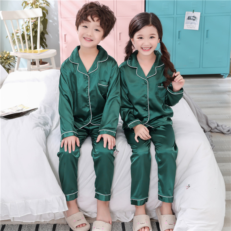 Spring And Autumn CHILDREN'S Pajamas Boy Imitated Silk Fabric Cardigan Suit Middle And Large Girls Solid Color Rope Version Home