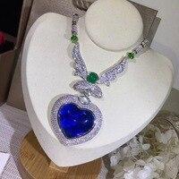 Luxury Fashion Silver Color Blue Gem Love Sweater Chain Full Zircon Ocean Heart Premium Pendant Necklace Jewelry Women