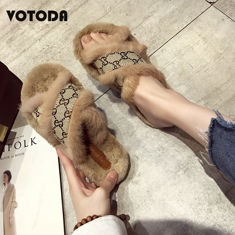Hot Women Rabbit Hair Slippers New Cross Plush Slides Fashion Fur Fluffy Furry Outdoor Shoes Flat Casual Slip On Home Flip Flops