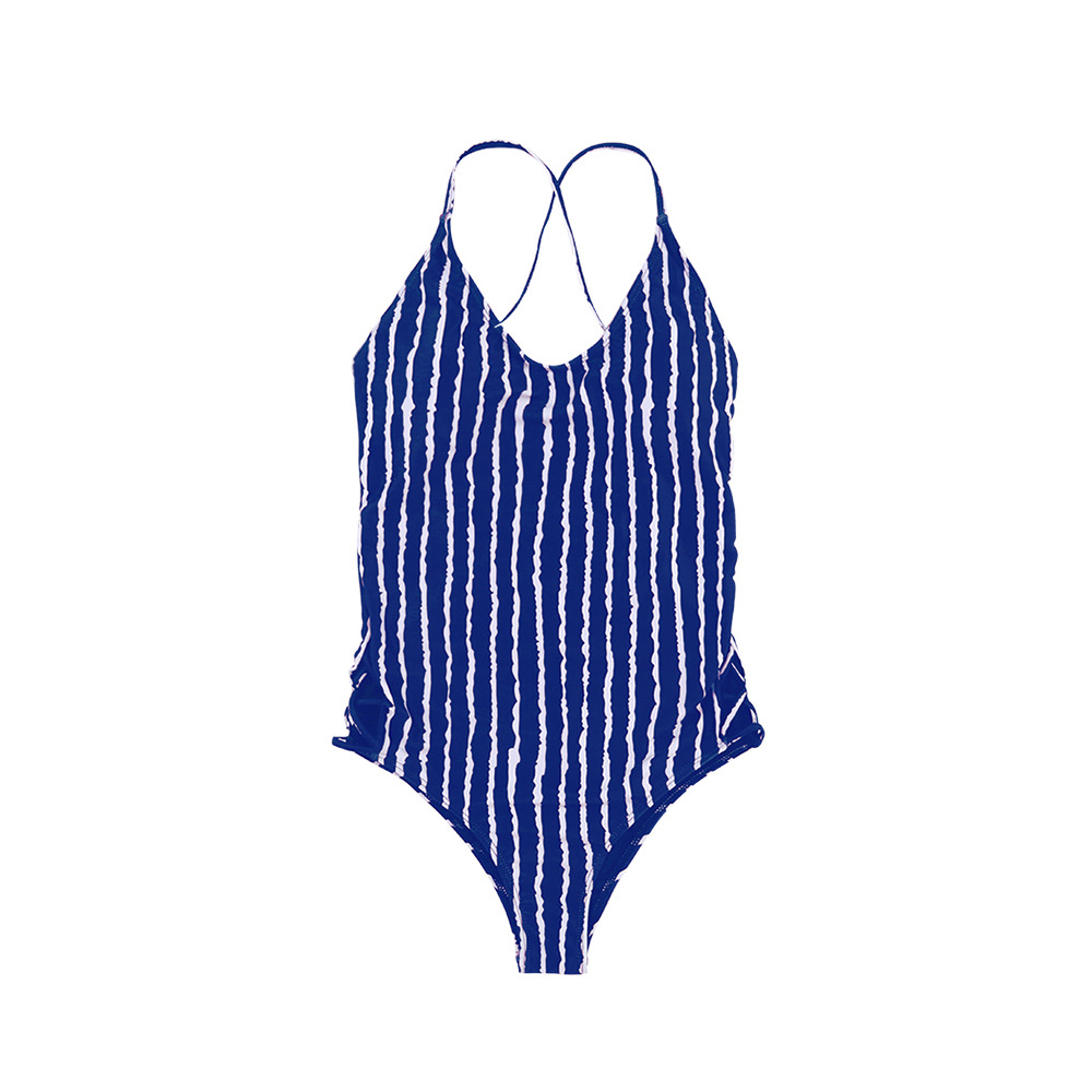 2018 Foreign Trade New Style Hot Sales One-piece Swimming Suit Vertical Striped Cross Amazon AliExpress Girls KID'S Swimwear