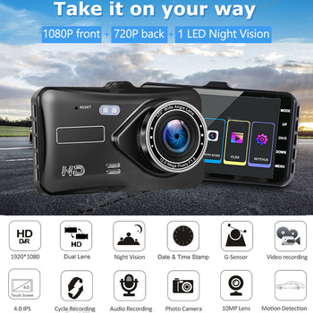 car speed radar detector 2 in 1 car dvr camera dashcam g sensor video recorder hd 1080p dash cam wdr night vision registrar 4'' Touch Screen Dash Cam Dual Lens HD 1080P Car DVR Camera Auto Digital Video Recorder Dashcam Camera G-Sensor IPS WDR Car DVRs
