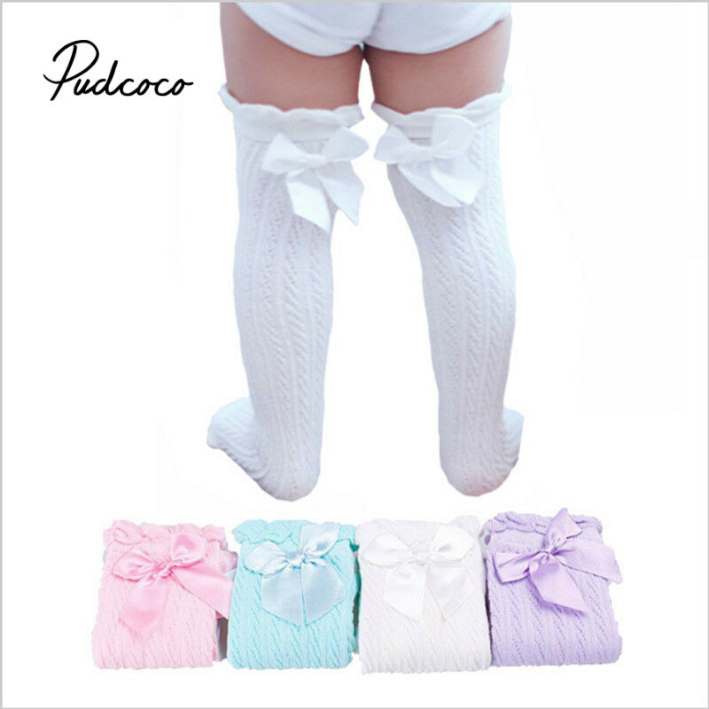 Pudcoco Baby Girl Stockings Spring Knee-High Socks Infant Lace Bowknot Stockings Princess Cotton Long Tube Booties 28cm 38cm