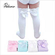 pudcoco Baby Girl Stockings Spring Knee-High Socks Infant Lace Bowknot Stockings Princess Cotton Long Tube Booties 28cm 38cm(China)