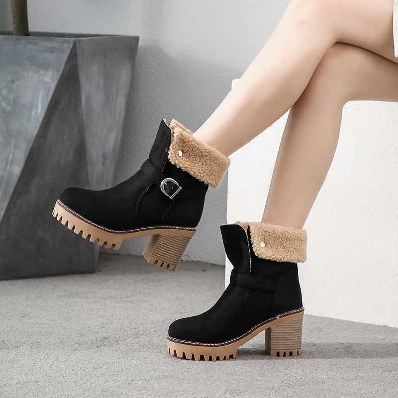 MEMUNIA 2020 yeni yüksek topuklu platform ayakkabılar kadın kış çizmeler akın yuvarlak toe toka kalın kürk sıcak yarım çizmeler kadın