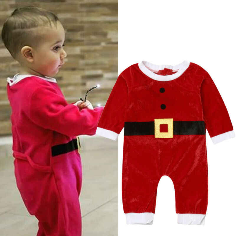 Red Baby Romper Christmas Outfit Girl/'s Linen Clothing Toddler Overalls First Christmas