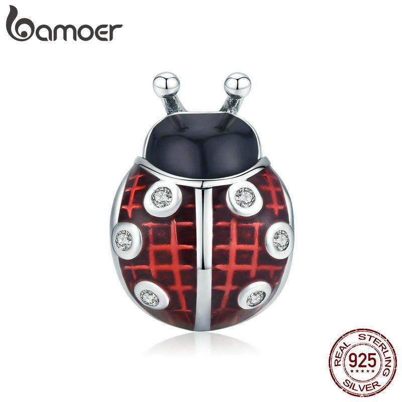 Bamoer Ladybug Metal Beads For Women Jewelry Making 925 Sterling Silver Red Enamel Charm Fit Original Bracelet DIY SCC1481