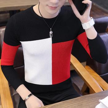 black\red\white thick warm o neck wool sweater