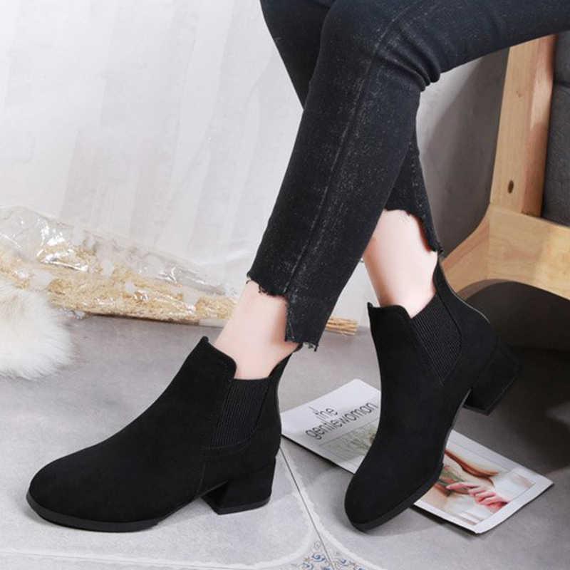 KARINLUNA yeni Dropshipping zarif slip-on patik muhtasar katı OL yarım çizmeler kadınlar 2019 bayanlar düşük tıknaz topuk ayakkabı kadın