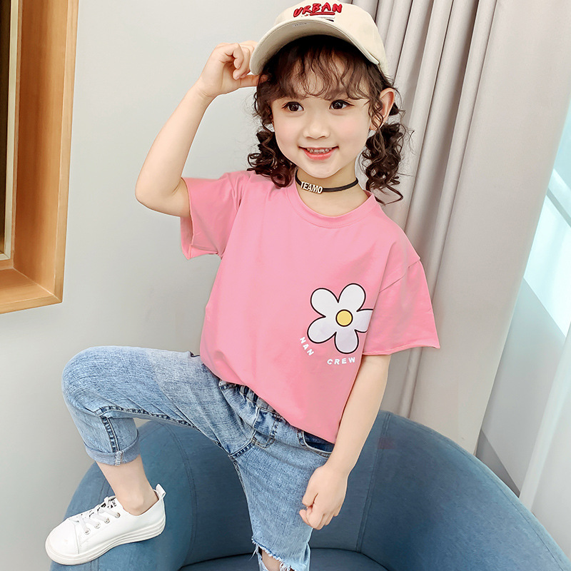 Girls Summer Short-sleeved T-shirt 2020 New Cotton Half-sleeved Children's Solid Color Bottoming Shirt Clothes For Big Kids