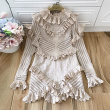 Baogarret New Spring Summer Designer Womens Flare Sleeve Hollow Out Ruffle Party Vestido Robe Femme Gauze Cotton Dresses