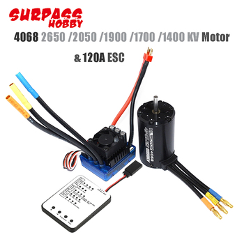 Waterproof 4068 Brushless Sensorless Motor with 120A Brushless ESC and Program Card for 1/8 RC Car Truck hot sale 3670 1900kv 4 poles sensorless brushless motor for 1 8 rc car
