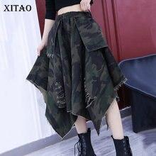 Print Skirt Splicing Asymmetrical Elastic-Waist Autumn Fashion And All-Match XITAO ZY4240