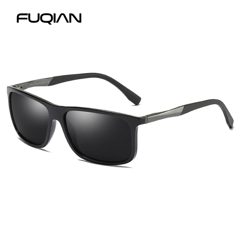 FUQIAN Brand New TR90 Square Polarized Men Sunglasses Refined Light Weight Sun Glasses Unisex Driving Eyewear