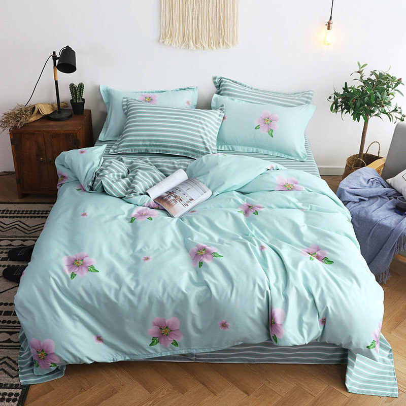 Flower 4pcs Girl Kid Bed Cover Set Cartoon Duvet Cover Adult Child Bed Sheets And Pillowcases Comforter Bedding Set 2TJ-61005