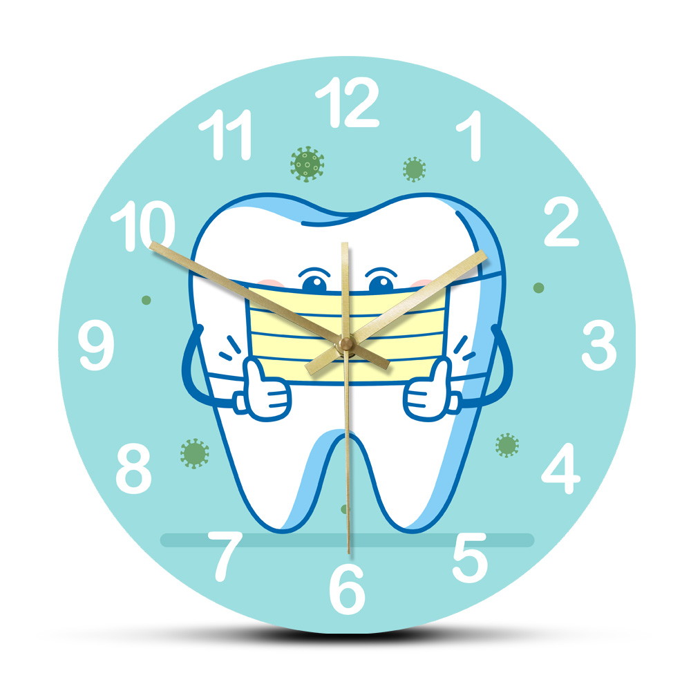 Tooth using Surgical Mask Rouned Printed Wall Clocks Dental Sign for Informing Patients Non Ticking Home Decorative Wall Watch(China)