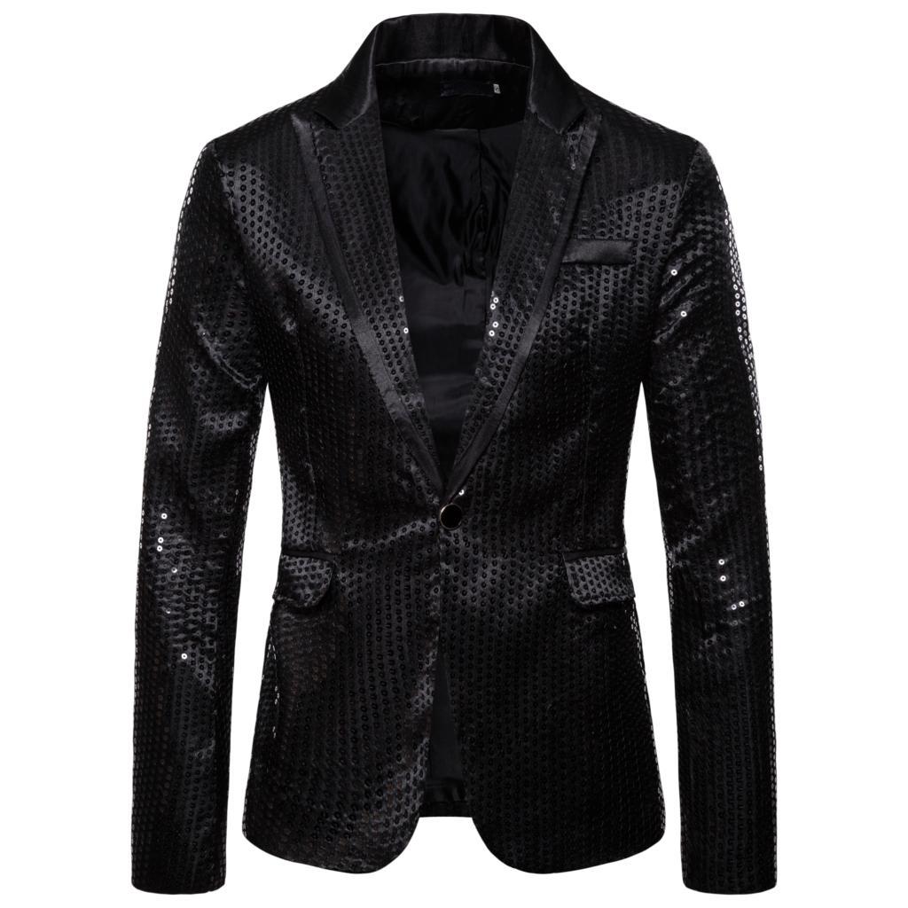 Adisputent Brand Men Blazer Suit Long Sleeve Casual Button Down Shirt For Disco Party Stage Mens Metallic Shiny Nightclub Slim