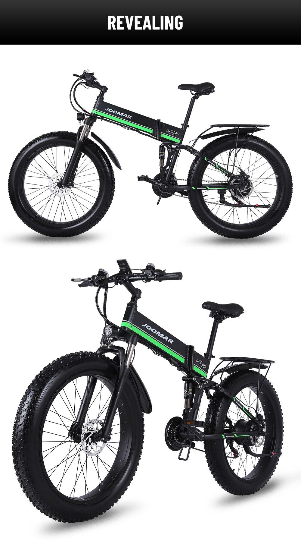 JOOMAR 1000W Electric Bike JM01 Plus 48V Motor for Men Folding Ebike High Quality Aluminum Alloy Fat Tire MTB Snow Bike Ebicycle