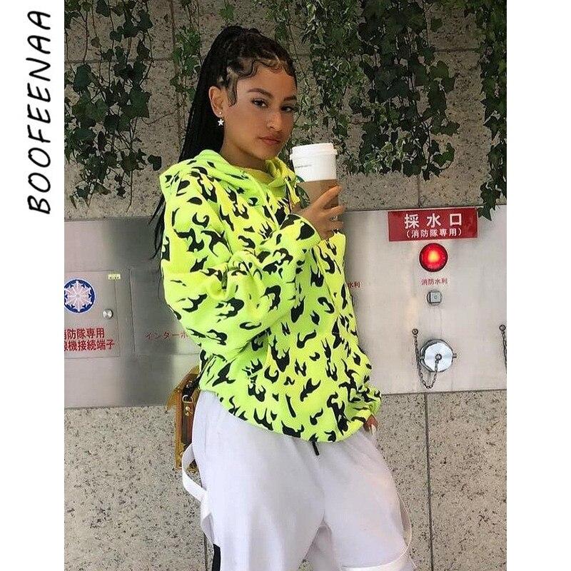 BOOFEENAA Streetwear Fashion Print Oversized Hoodie Neon Green Black White Hoodie Women Long And Loose Sweatshirt C16-AI96