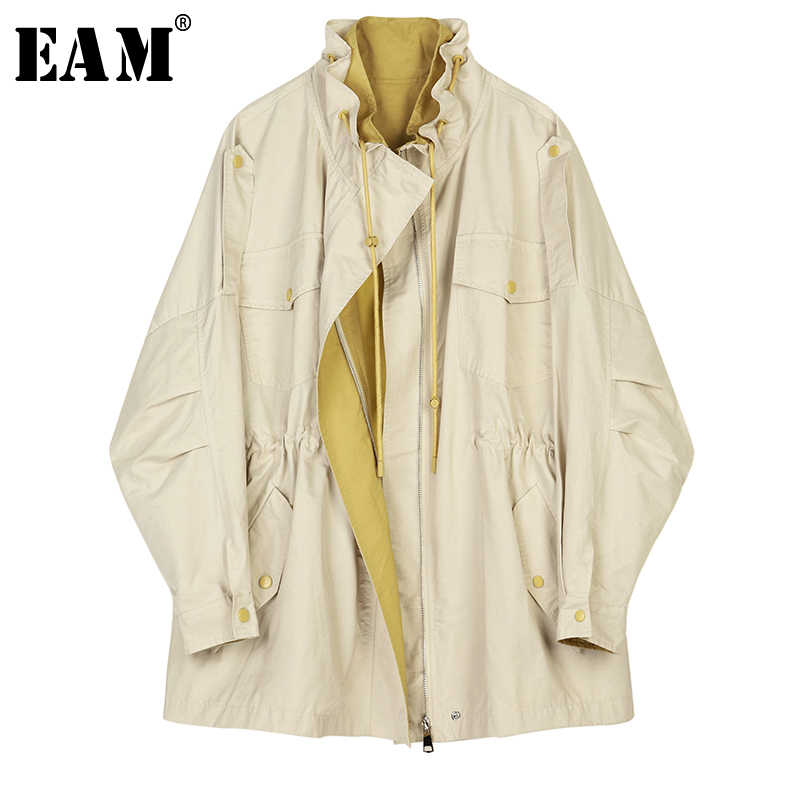 [EAM] Women Khaki Drawstring Big Size Trench New Stand Collar Long Sleeve Loose Fit Windbreaker Fashion Autumn Winter 2019 1B470