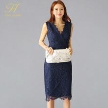 H Han Queen Office Work Vestidos Summer Simple Sleeveless V-neck Knee-length Business Lace