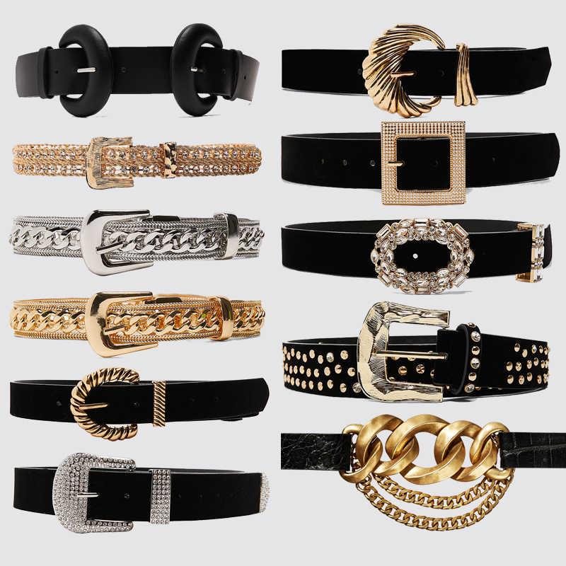 Dvacaman 2020 yeni ZA Charm parlak altın taklidi kemerler kadın moda siyah toka dekoratif kemer bel göbek takısı elbise