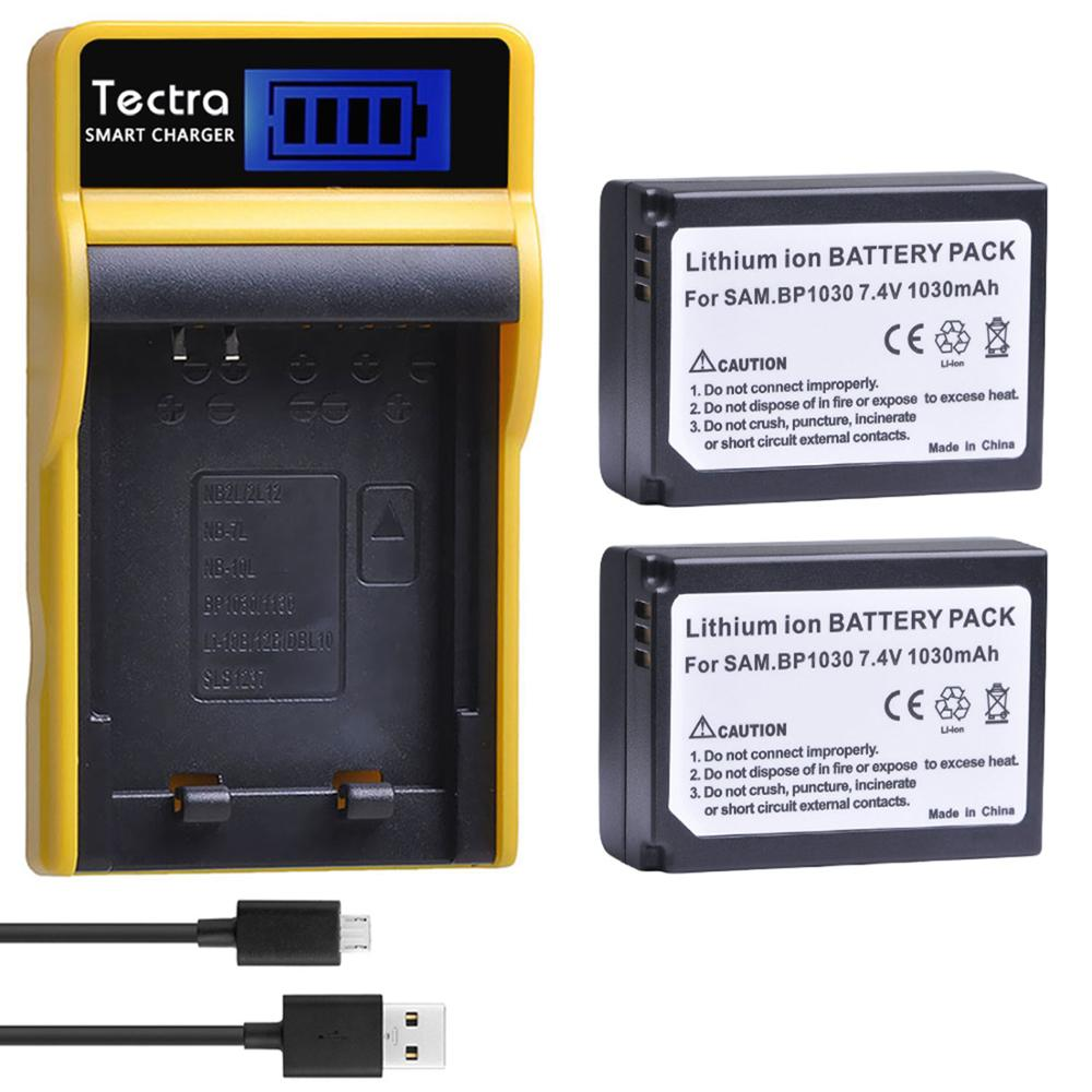 Tectra 2pc BP1030 BP 1030 BP-1030 Li-ion Battery+LCD USB <font><b>Charger</b></font> for <font><b>Samsung</b></font> NX1100 NX-300M NX300 NX500 <font><b>NX1000</b></font> NX200 NX210 image