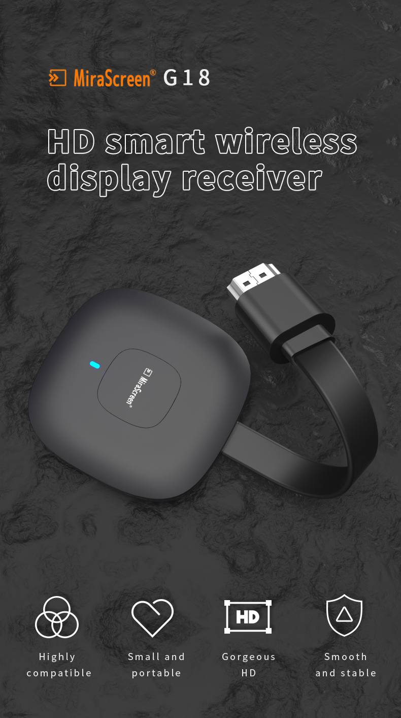 2020 2.4G + 5.8G 4K Wireless HDMI Wifi Display Receiver Mirror Screen Miracast Airplay Media Stream Android TV Stick HDTV Dongle